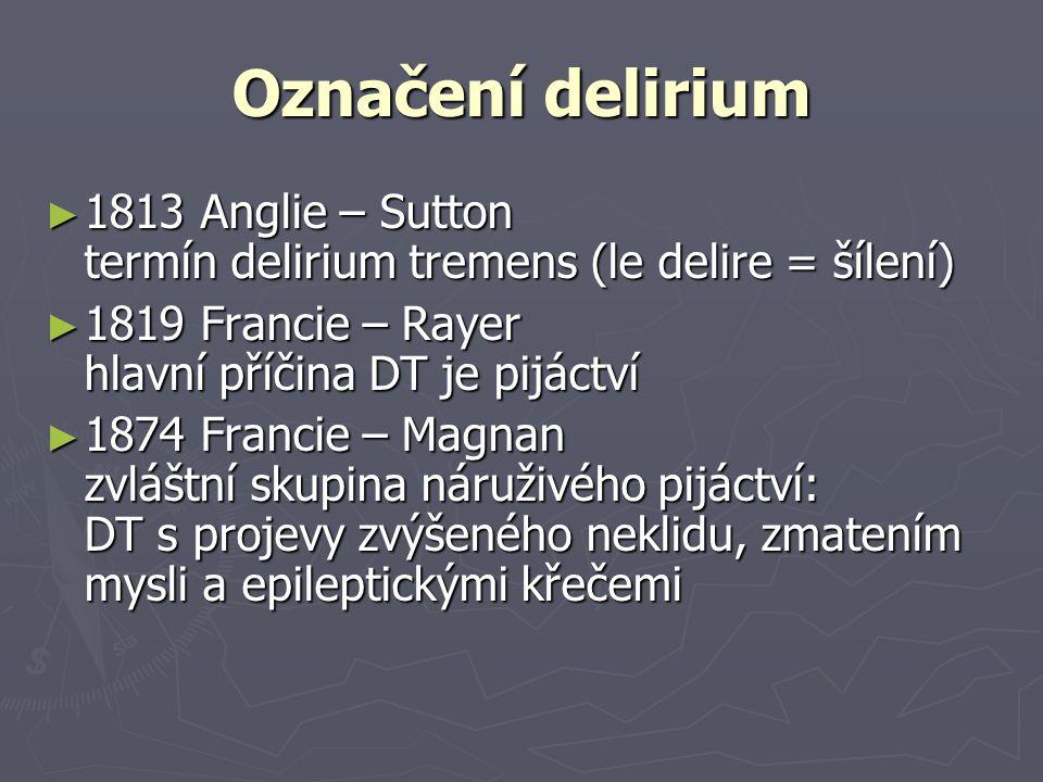 Označení delirium 1813 Anglie – Sutton termín delirium tremens (le delire = šílení) 1819 Francie – Rayer hlavní příčina DT je pijáctví.