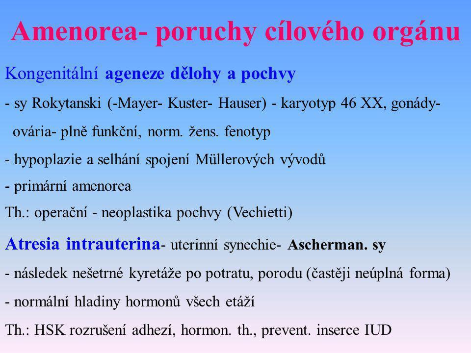 Amenorea- poruchy cílového orgánu
