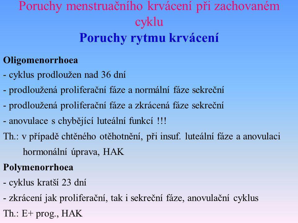 Poruchy menstruačního krvácení při zachovaném cyklu Poruchy rytmu krvácení