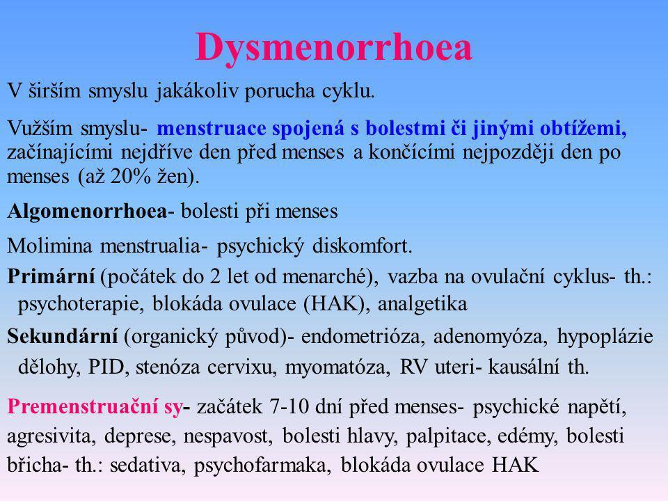 Dysmenorrhoea V širším smyslu jakákoliv porucha cyklu.
