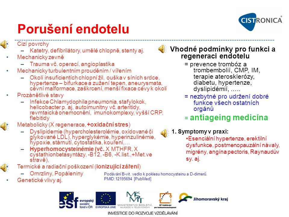 Porušení endotelu Vhodné podmínky pro funkci a regeneraci endotelu