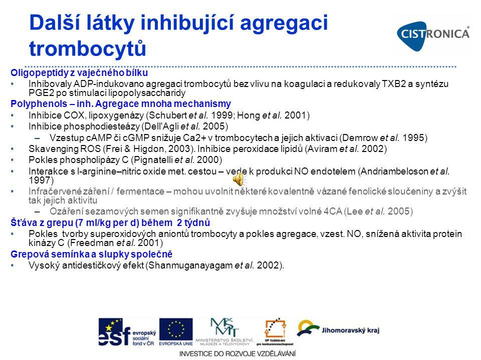 Další látky inhibující agregaci trombocytů