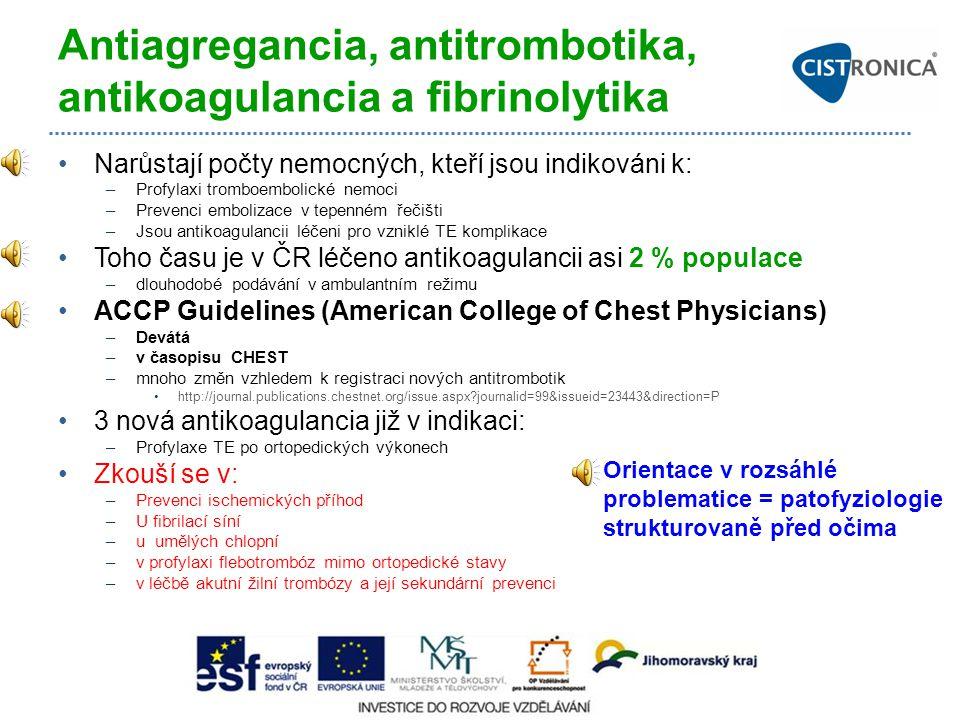 Antiagregancia, antitrombotika, antikoagulancia a fibrinolytika