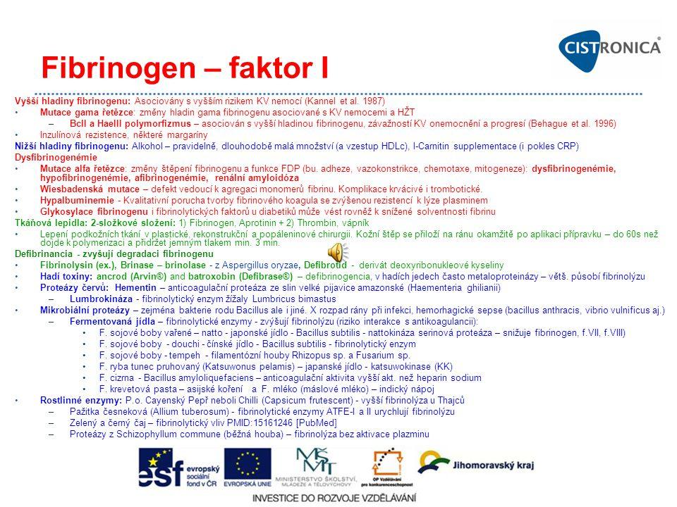 Fibrinogen – faktor I Vyšší hladiny fibrinogenu: Asociovány s vyšším rizikem KV nemocí (Kannel et al. 1987)