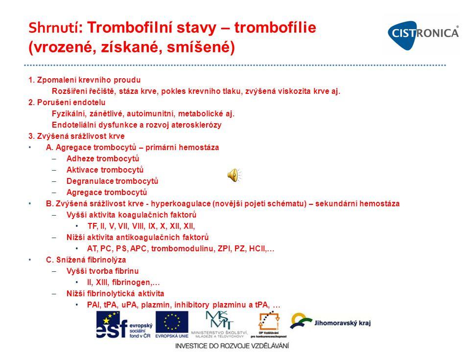 Shrnutí: Trombofilní stavy – trombofílie (vrozené, získané, smíšené)