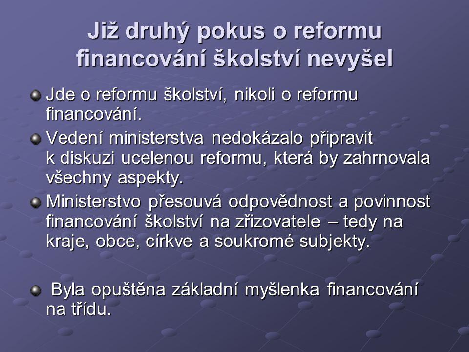 Již druhý pokus o reformu financování školství nevyšel