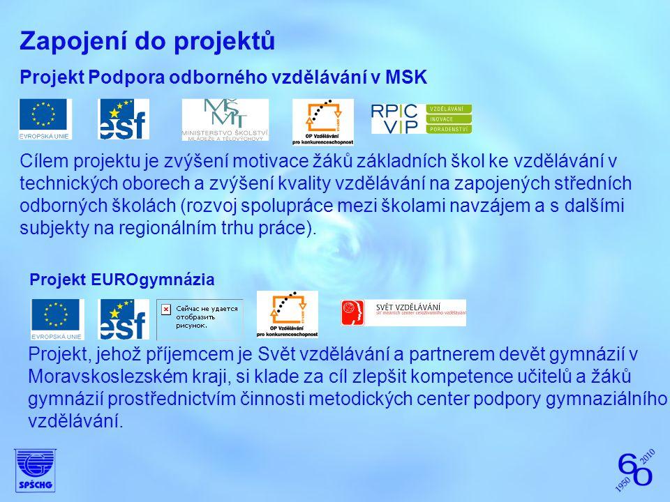 Zapojení do projektů Projekt Podpora odborného vzdělávání v MSK