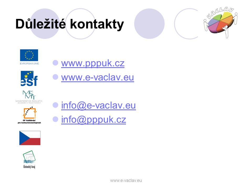 Důležité kontakty www.pppuk.cz www.e-vaclav.eu info@e-vaclav.eu