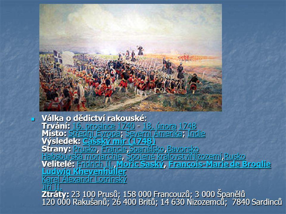 Válka o dědictví rakouské: Trvání: 16. prosince 1740 - 18