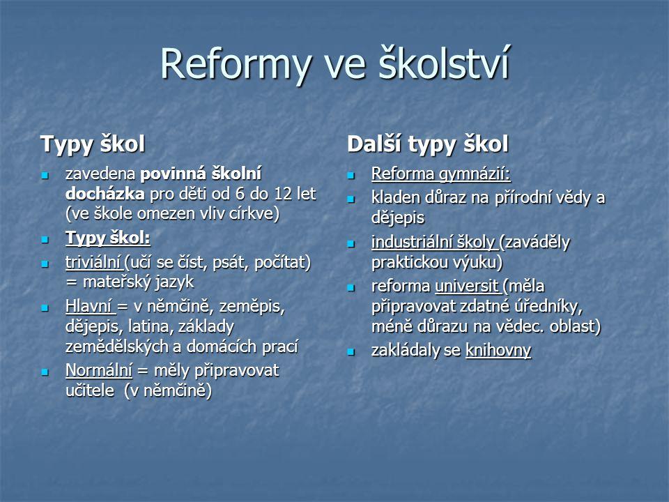 Reformy ve školství Typy škol Další typy škol