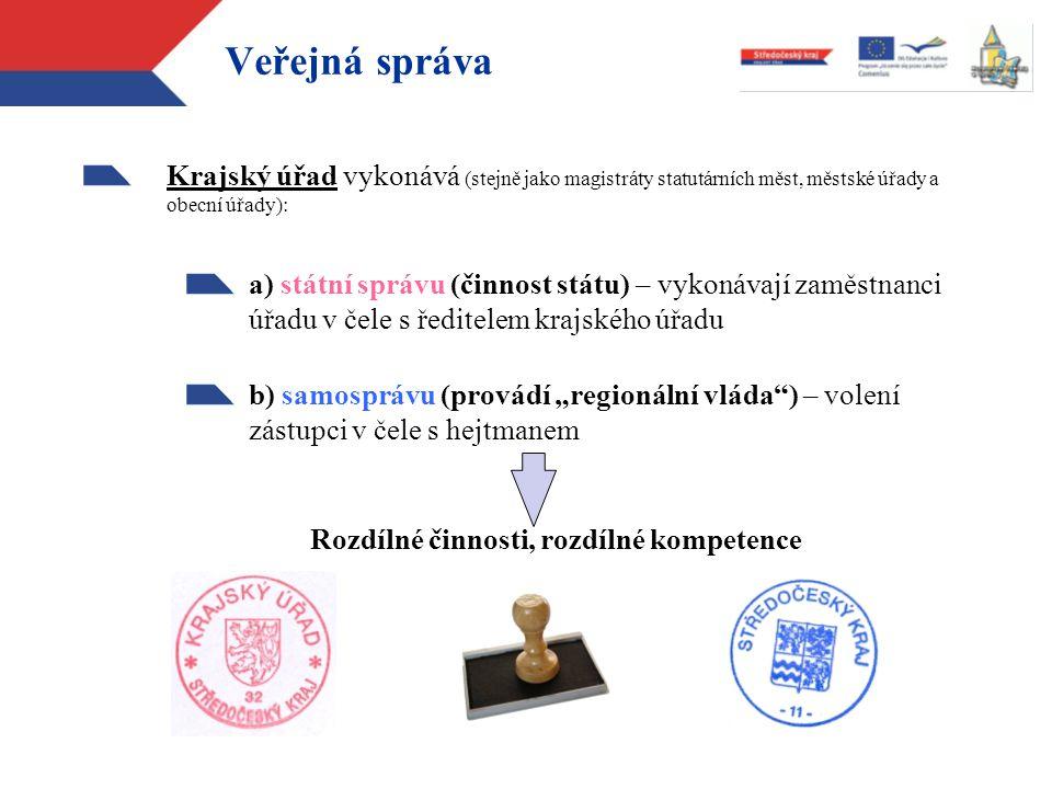 Veřejná správa Krajský úřad vykonává (stejně jako magistráty statutárních měst, městské úřady a obecní úřady):