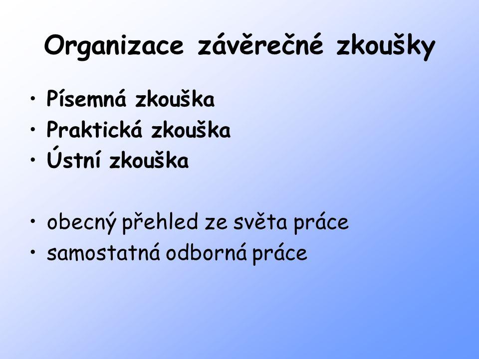 Organizace závěrečné zkoušky