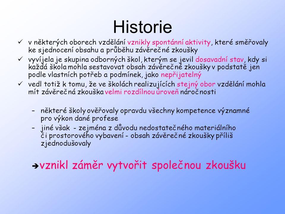 Historie v některých oborech vzdělání vznikly spontánní aktivity, které směřovaly ke sjednocení obsahu a průběhu závěrečné zkoušky.