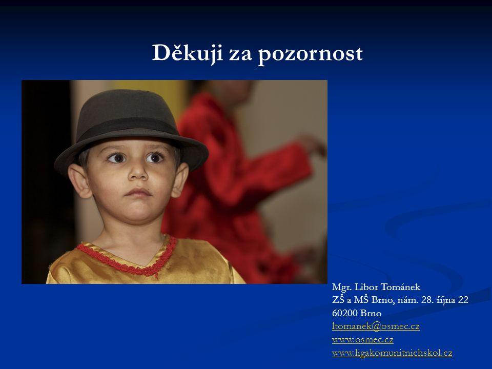 Děkuji za pozornost Mgr. Libor Tománek ZŠ a MŠ Brno, nám. 28. října 22