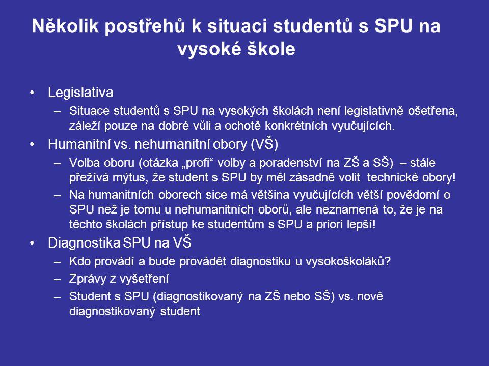Několik postřehů k situaci studentů s SPU na vysoké škole