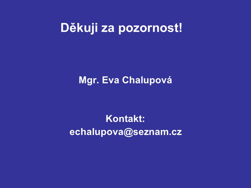 Děkuji za pozornost! Mgr. Eva Chalupová Kontakt: echalupova@seznam.cz