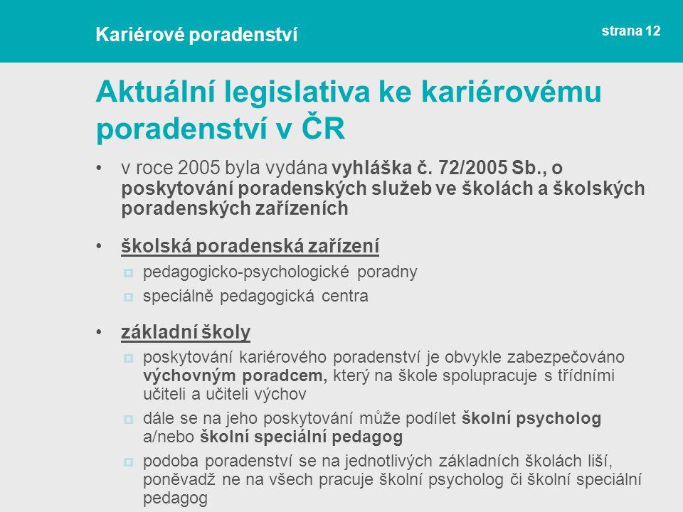 Aktuální legislativa ke kariérovému poradenství v ČR