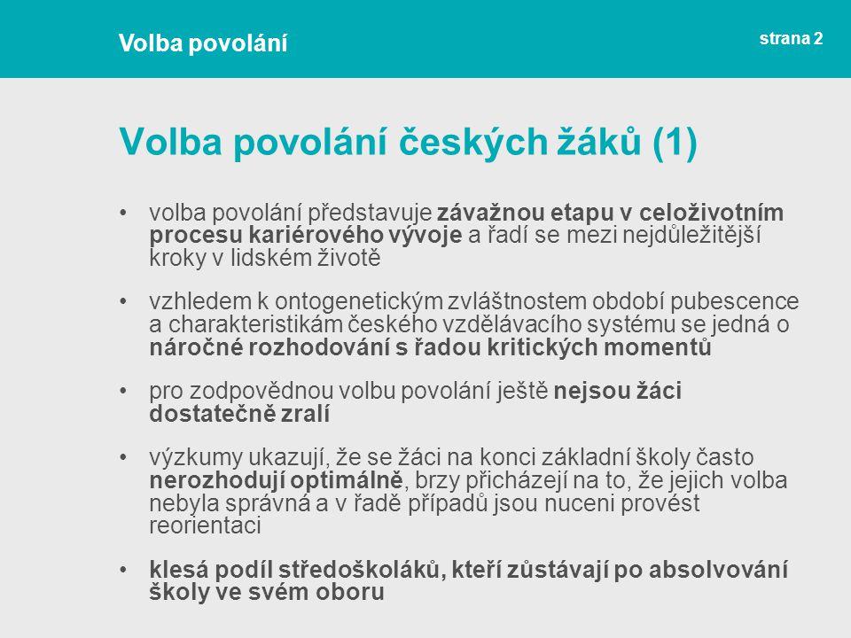 Volba povolání českých žáků (1)