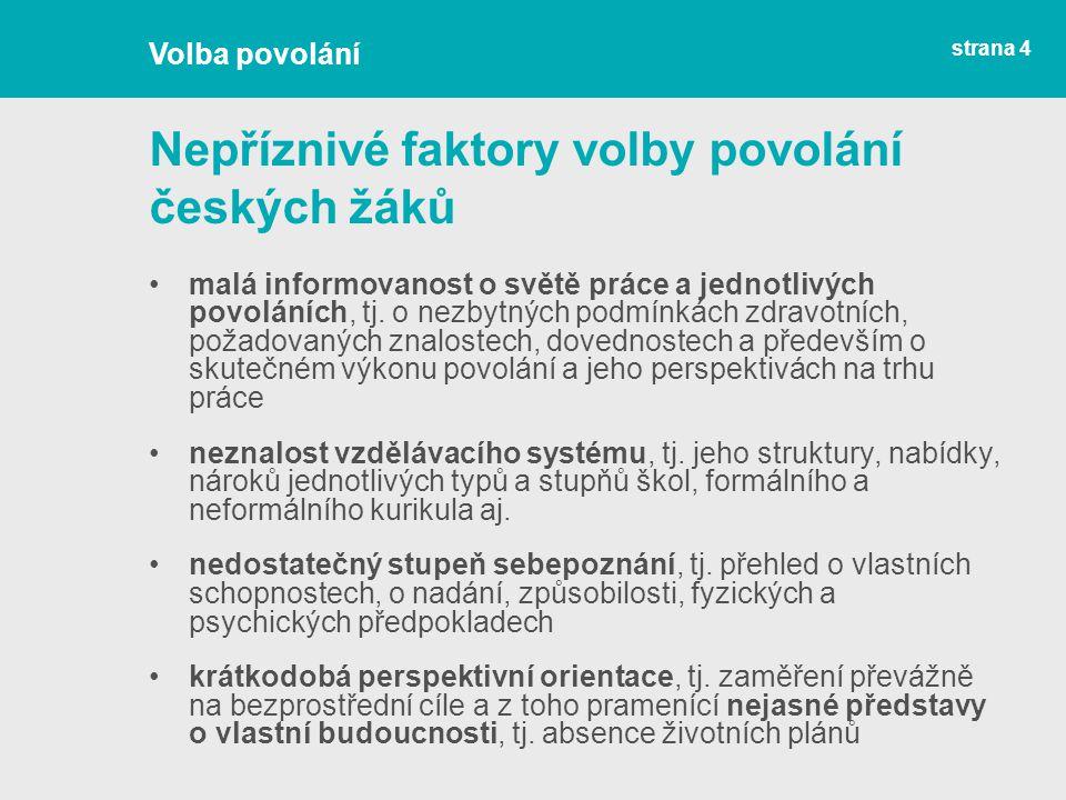 Nepříznivé faktory volby povolání českých žáků