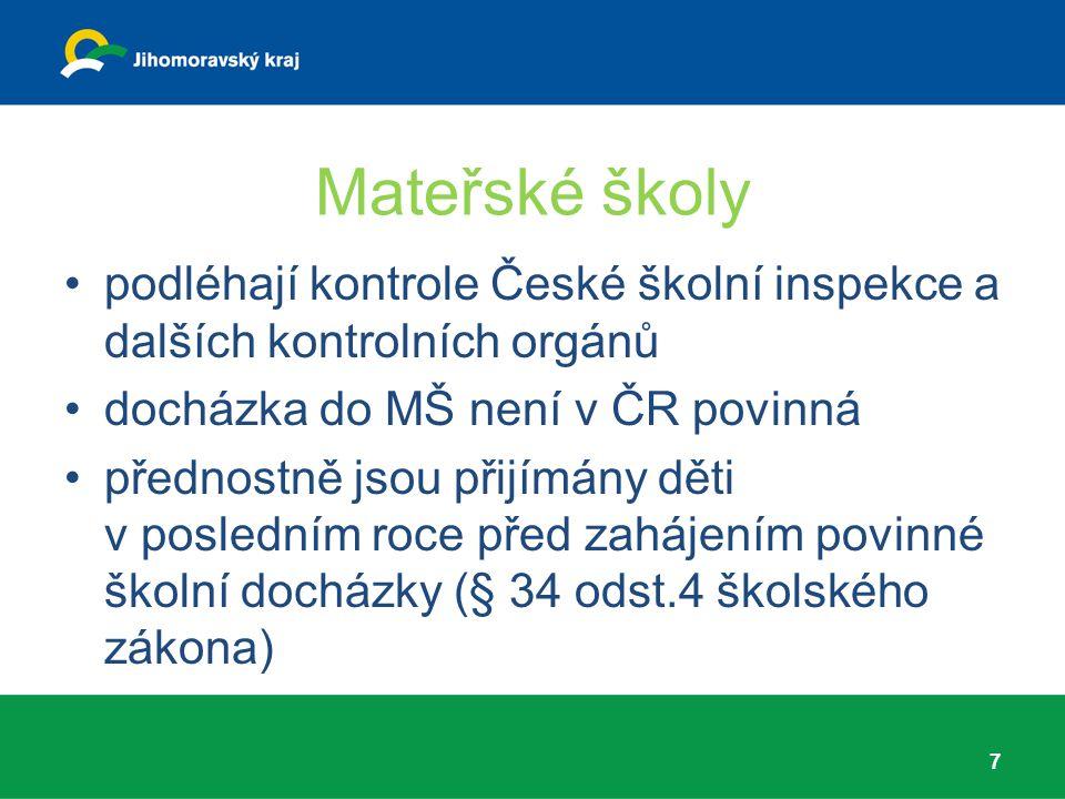 Mateřské školy podléhají kontrole České školní inspekce a dalších kontrolních orgánů. docházka do MŠ není v ČR povinná.