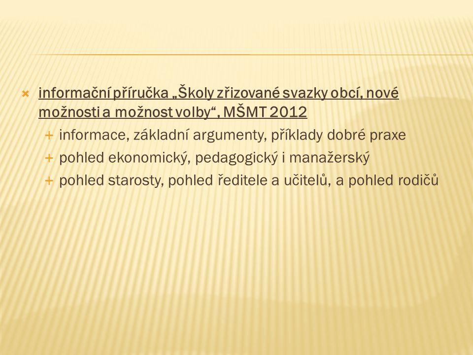 """informační příručka """"Školy zřizované svazky obcí, nové možnosti a možnost volby , MŠMT 2012"""