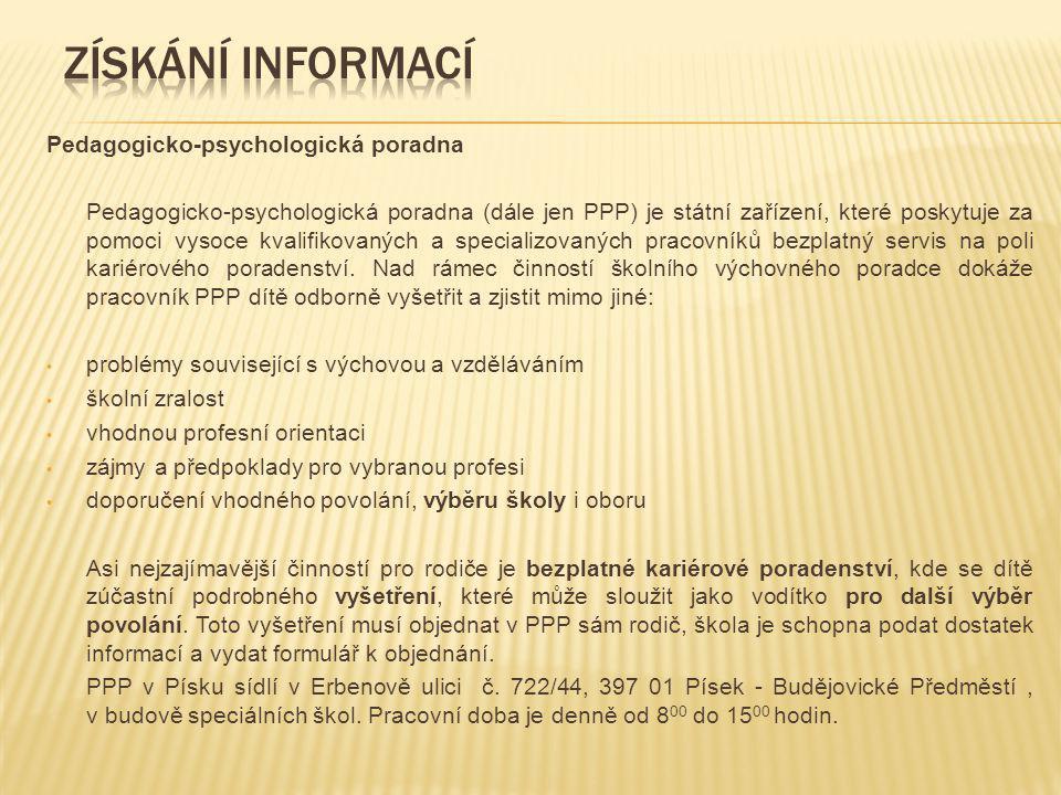 Získání informací Pedagogicko-psychologická poradna