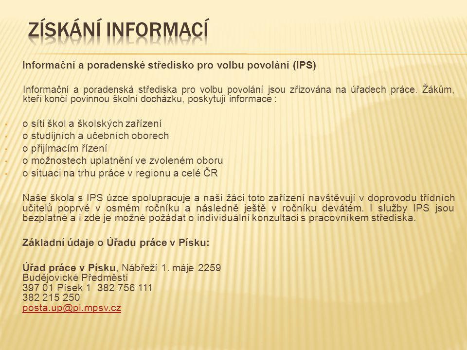 Získání informací Informační a poradenské středisko pro volbu povolání (IPS)