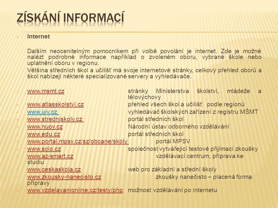 Získání informací Internet