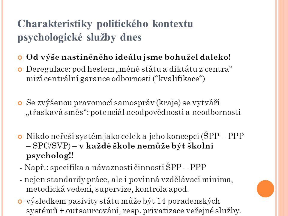 Charakteristiky politického kontextu psychologické služby dnes