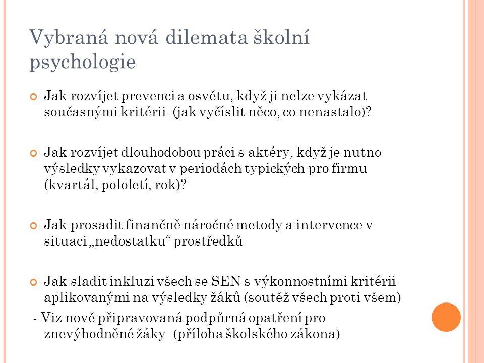 Vybraná nová dilemata školní psychologie