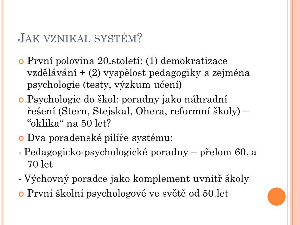 Jak vznikal systém První polovina 20.století: (1) demokratizace vzdělávání + (2) vyspělost pedagogiky a zejména psychologie (testy, výzkum učení)