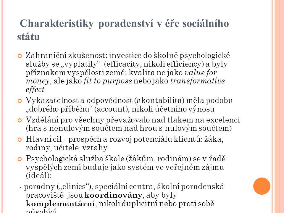 Charakteristiky poradenství v éře sociálního státu