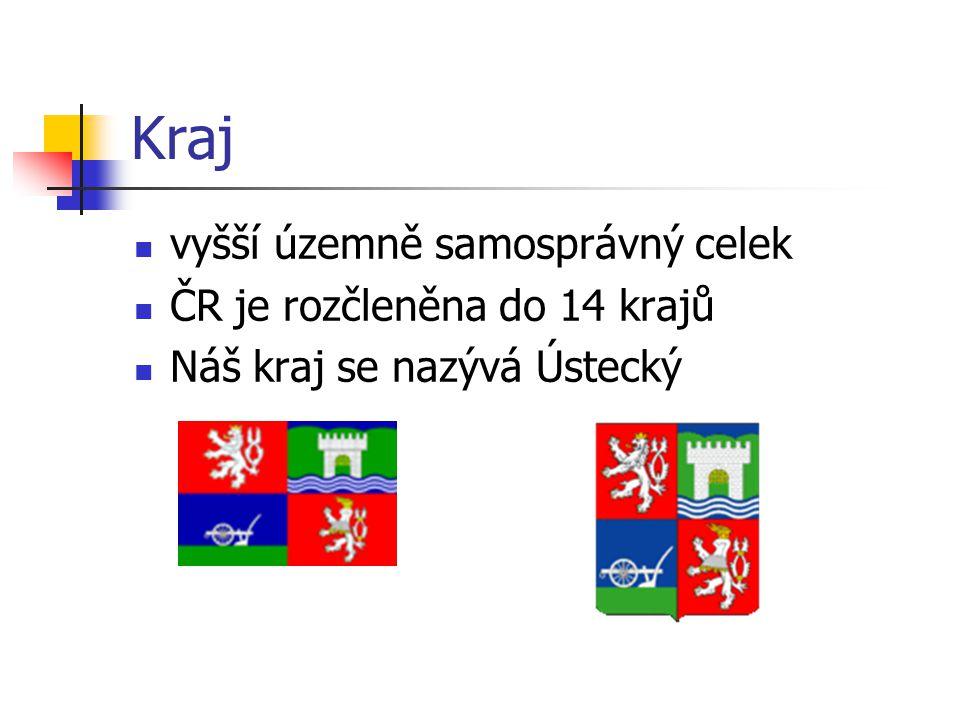 Kraj vyšší územně samosprávný celek ČR je rozčleněna do 14 krajů