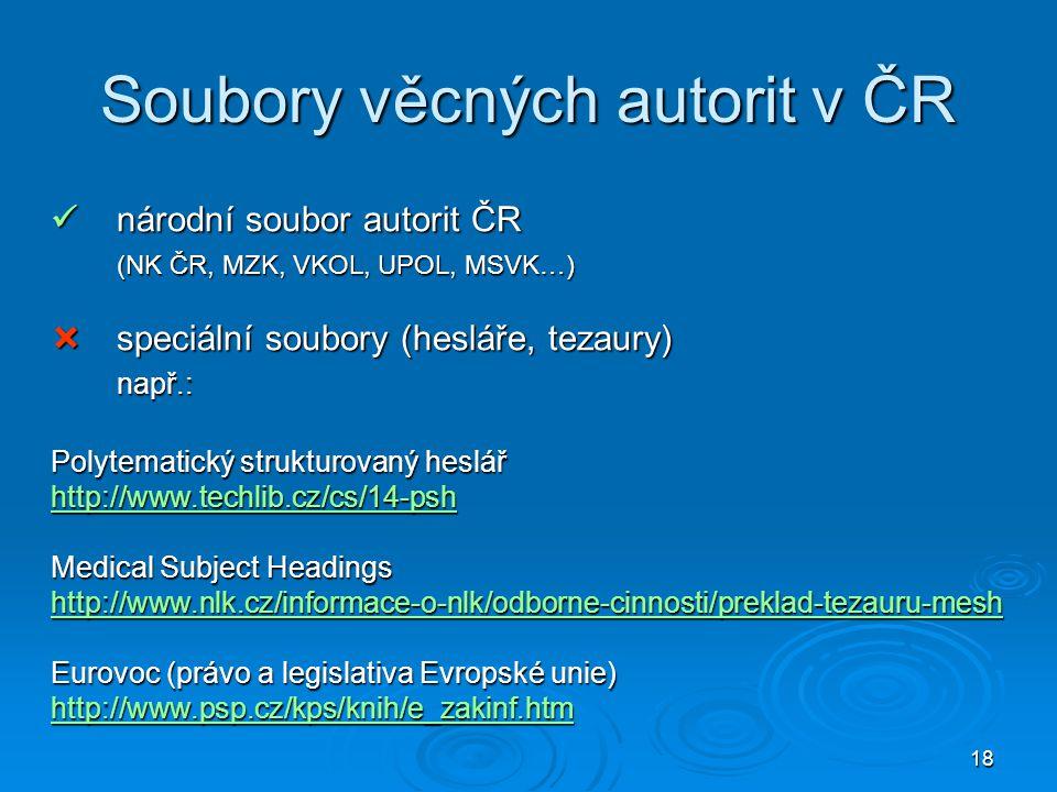 Soubory věcných autorit v ČR
