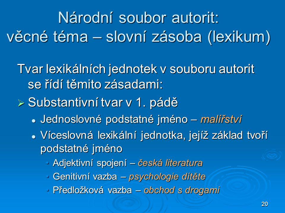 Národní soubor autorit: věcné téma – slovní zásoba (lexikum)
