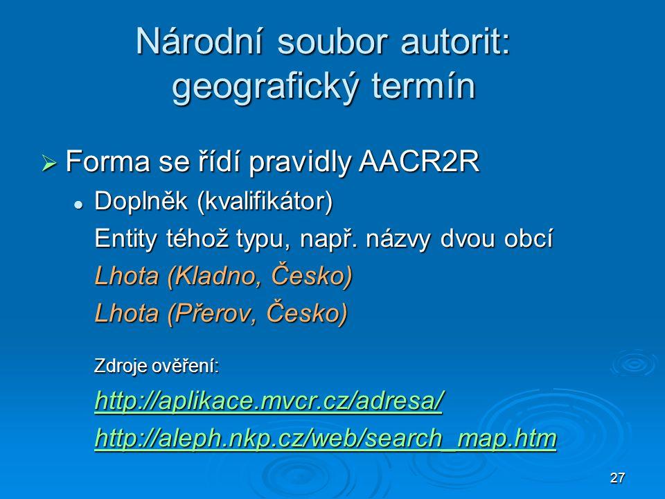Národní soubor autorit: geografický termín