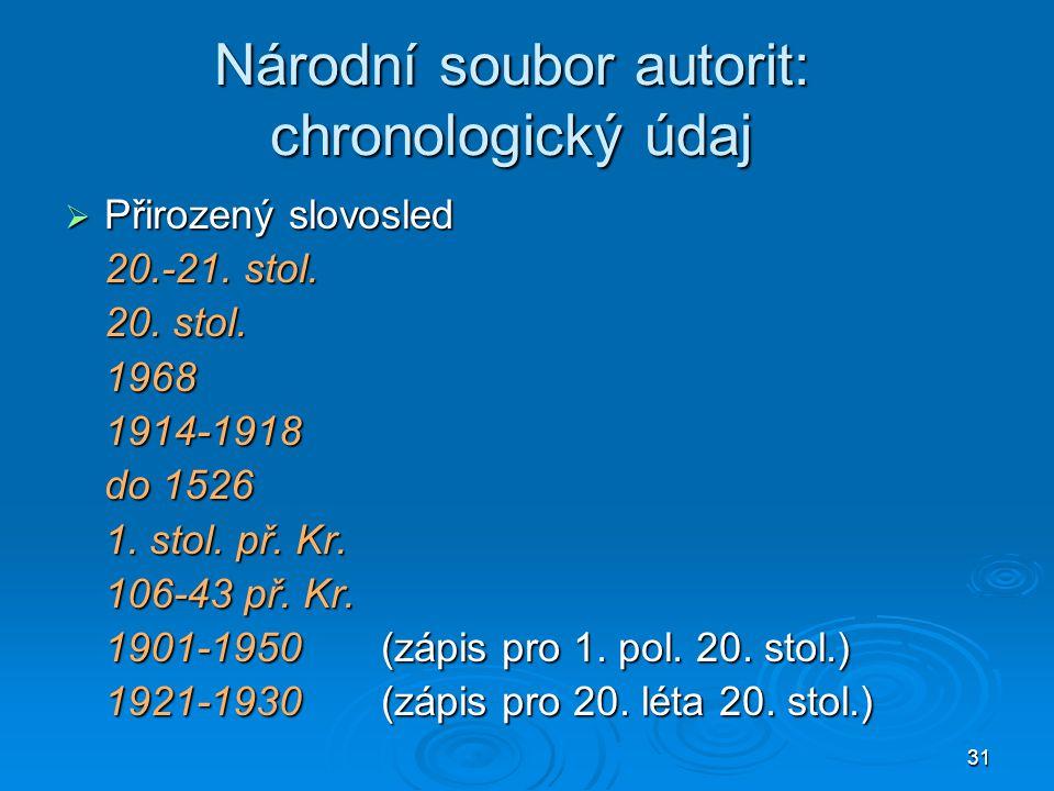 Národní soubor autorit: chronologický údaj