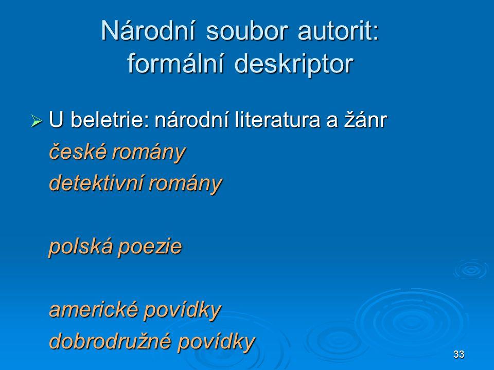 Národní soubor autorit: formální deskriptor