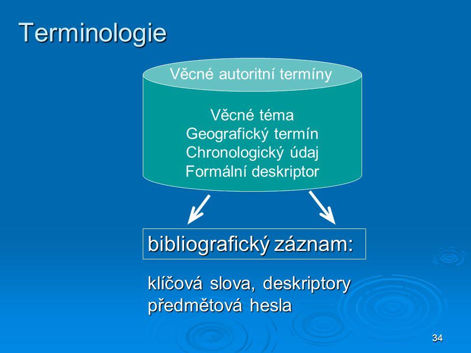 Terminologie bibliografický záznam: klíčová slova, deskriptory