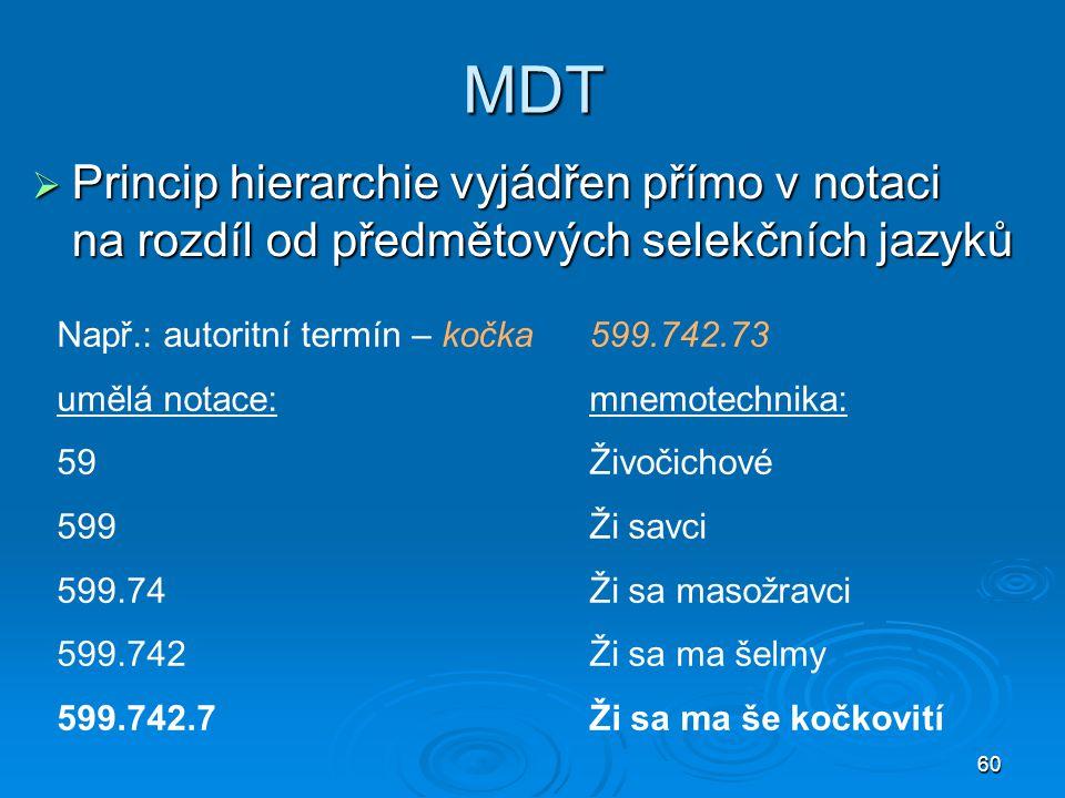 MDT Princip hierarchie vyjádřen přímo v notaci na rozdíl od předmětových selekčních jazyků. Např.: autoritní termín – kočka 599.742.73.