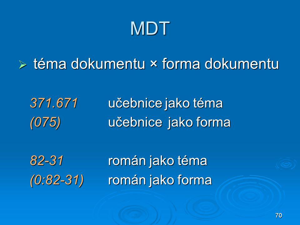 MDT téma dokumentu × forma dokumentu 371.671 učebnice jako téma