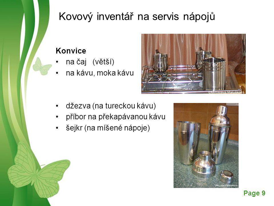 Kovový inventář na servis nápojů