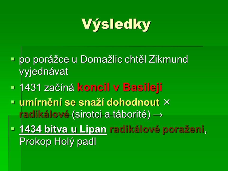Výsledky po porážce u Domažlic chtěl Zikmund vyjednávat