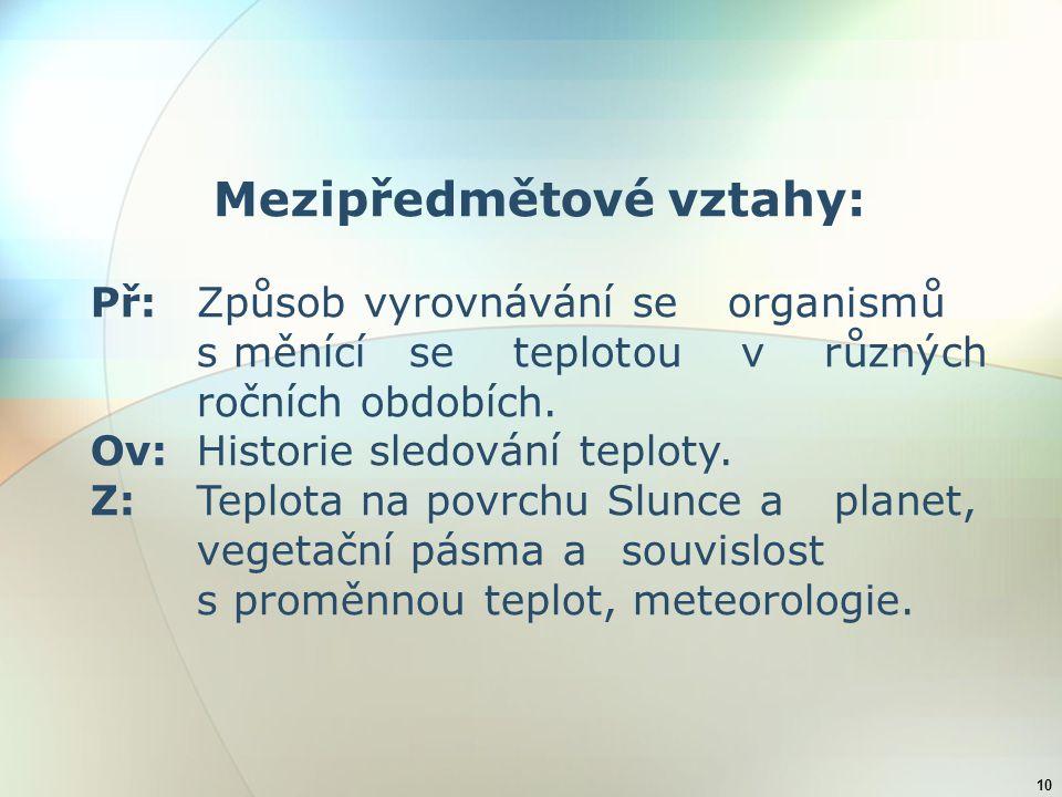 Mezipředmětové vztahy: