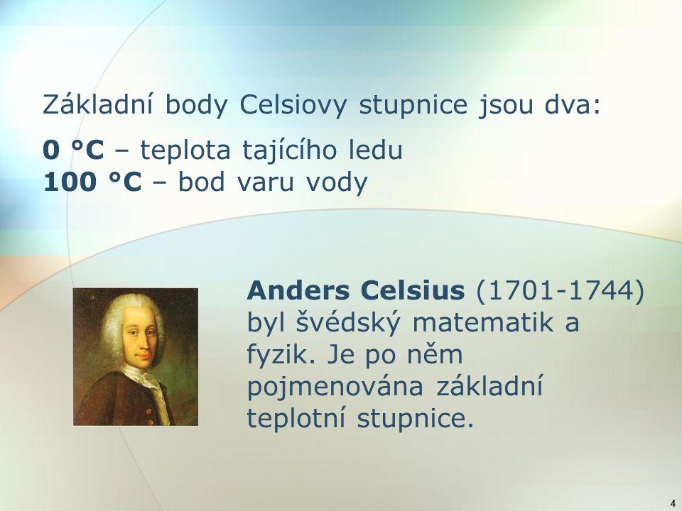 Základní body Celsiovy stupnice jsou dva: