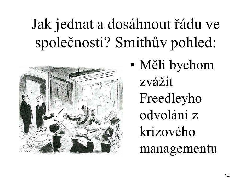 Jak jednat a dosáhnout řádu ve společnosti Smithův pohled: