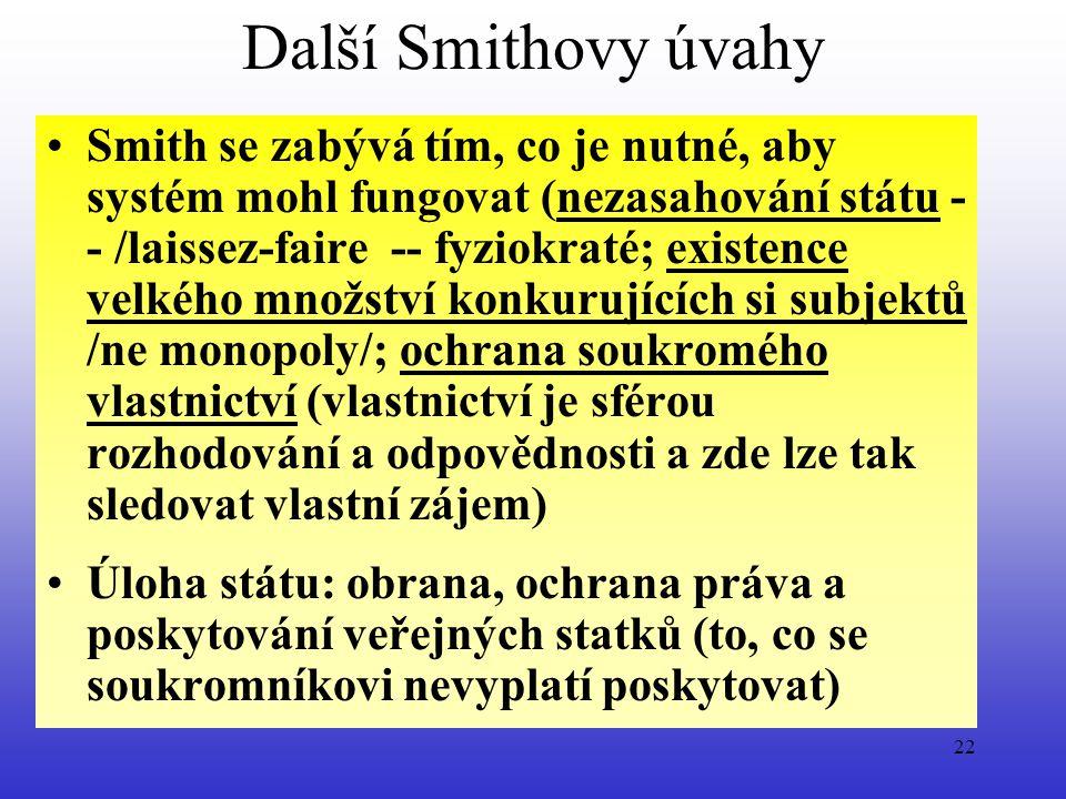 Další Smithovy úvahy