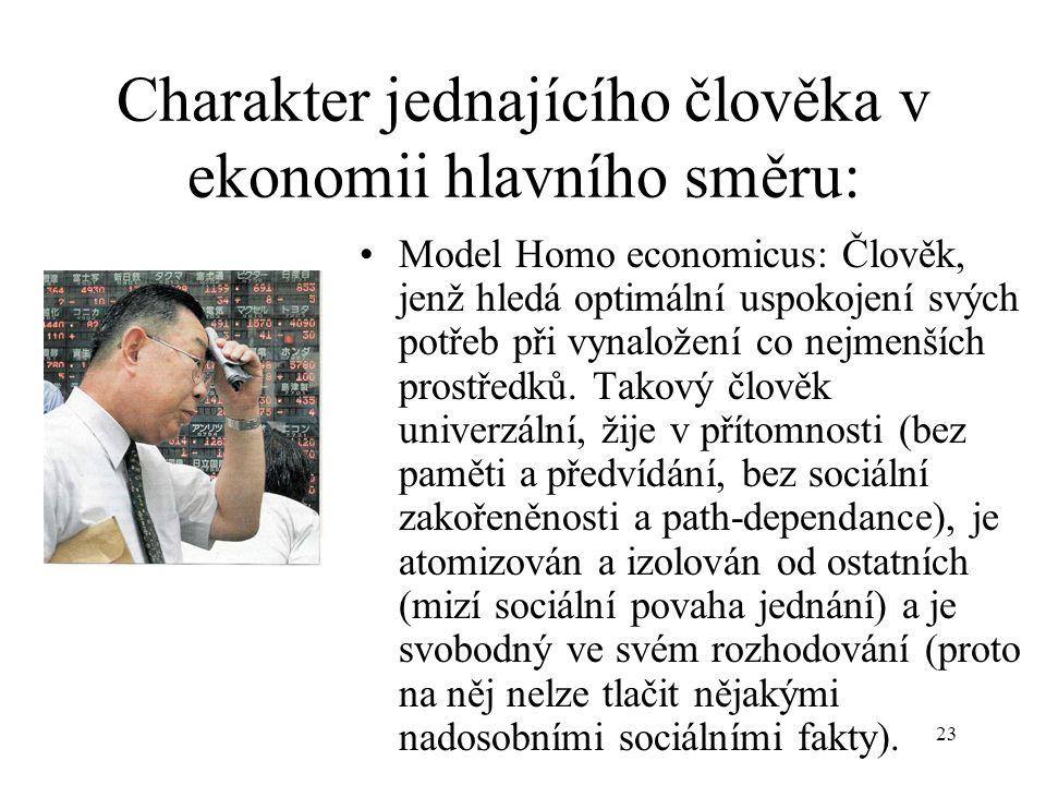 Charakter jednajícího člověka v ekonomii hlavního směru: