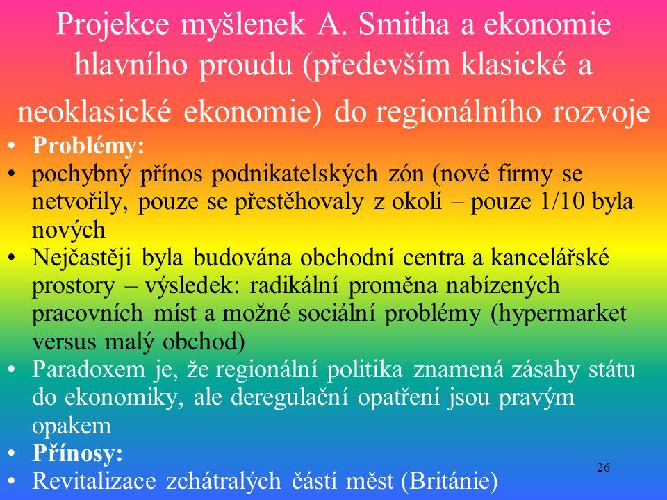 Projekce myšlenek A. Smitha a ekonomie hlavního proudu (především klasické a neoklasické ekonomie) do regionálního rozvoje
