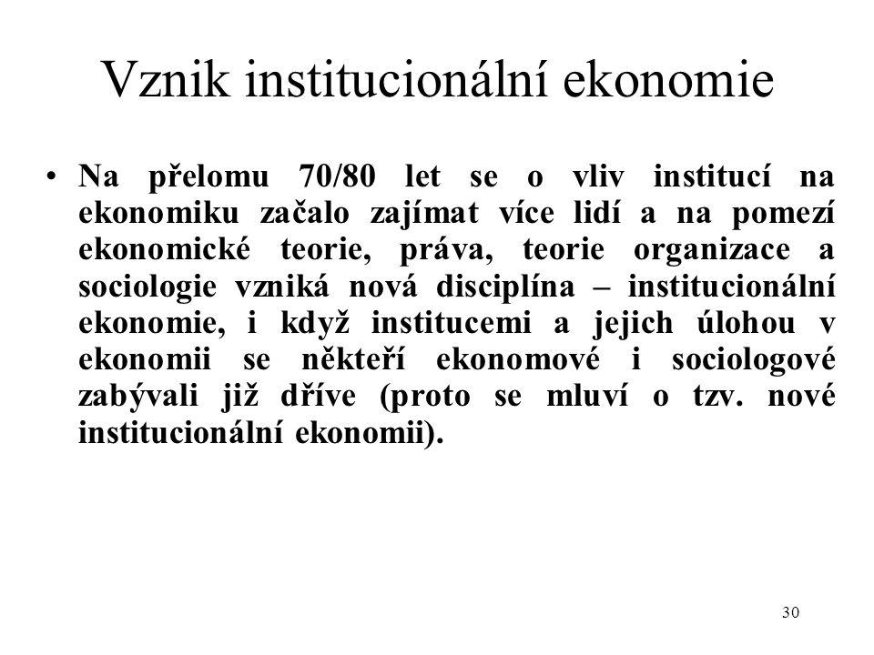 Vznik institucionální ekonomie